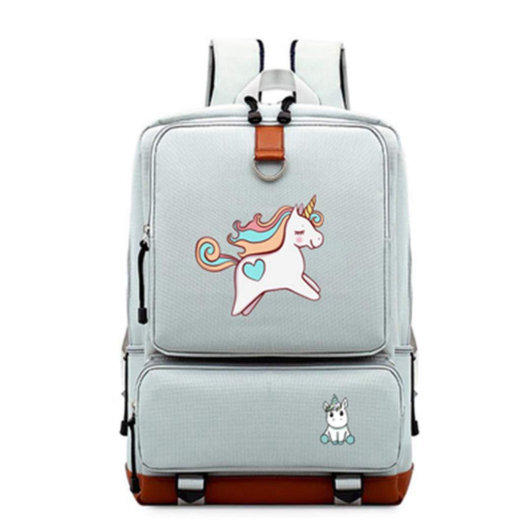 Black2 one size Cute Cartoon Unicorn Backpack Teenagers Women's Student School Bags Travel Multifunction USB Charging Black3