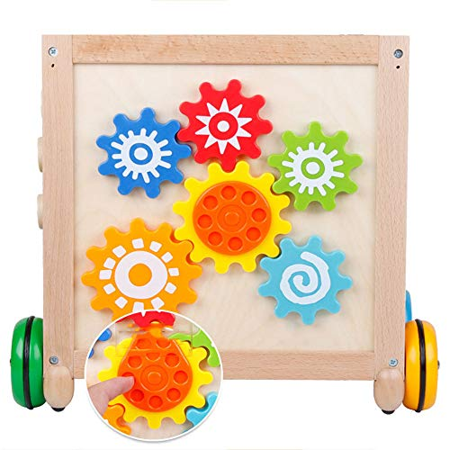 Techecho Puzzle Beads Labyrinth Roller Coaster Early Childhood Education Wooden Activity Cube 5 in 1 Center Multifunctional Wooden Four-Wheeled Push Walker Wooden Educational Toy by Techecho (Image #2)