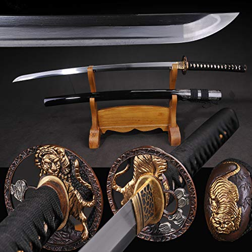 - Yongli Sword Handmade Full Tang Japanese Katana Damascus Folded Steel Samurai Sword Brass Tiger Tsuba