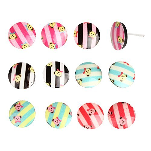 (BodyJ4You Earrings Lot Studs, Acrylic Round Teddy Bear Earring 12 Pieces Earring Set Stud on Nylon Posts)