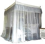 Square top Mosquito net Three Open Door Double Bedroom Yarn Book Insect-Proof Children Single Account Floor Princess Wind, Gray, 1.5M