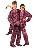 Pink Leopard Print Drop Seat Polar Fleece Feetie Pajamas, Size 7