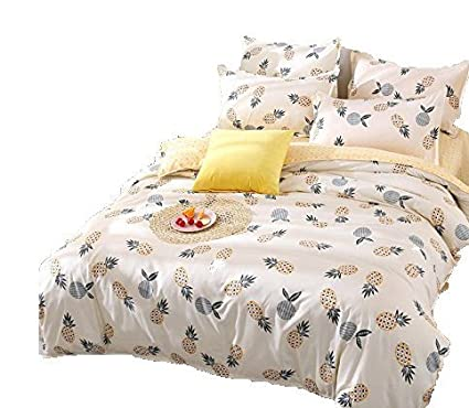5d8e1e2fa9bc Kimko Kids Pineapple Bedding Set - Fresh Soft Bedding Collection - Yellow  Pineapple Green Leaves Pattern