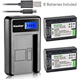 Kastar Battery (X2) & LCD USB Charger for Sony NP-FV50 NP-FV40 NP-FV30 and AX53 CX675/B CX220 CX230 CX290 CX330 CX380 CX430V CX900 PJ200 PJ230 PJ340 PJ380 PJ430V PJ540 PJ650V PV790V PJ810 TD30V AX100