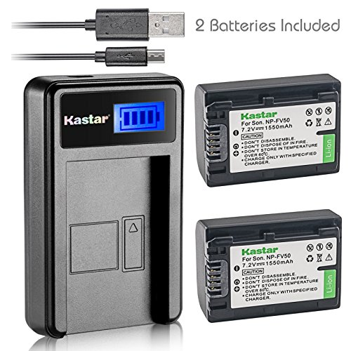 (Kastar Battery (X2) & LCD USB Charger for Sony NP-FV50 NP-FV40 NP-FV30 and AX53 CX675/B CX220 CX230 CX290 CX330 CX380 CX430V CX900 PJ200 PJ230 PJ340 PJ380 PJ430V PJ540 PJ650V PV790V PJ810 TD30V AX100)