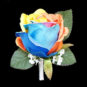 Lily Garden Silk Rainbow Rose Flowers Bouquet Boutuniere 2