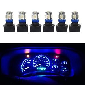 WLJH 6Pack Blue T10 194 LED Light Bulb 168 LED Bulbs Instrument Panel Gauge Cluster Dashboard LED Light Indicator Bulbs Twist Lock Socket Printed Circuit Base