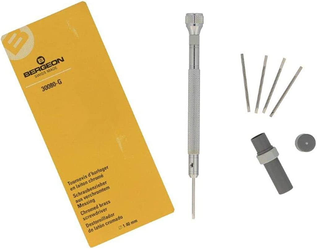 Bergeon Watchmakers Screwdriver with Replacement Blades No 30080-F 1.2 mm Red