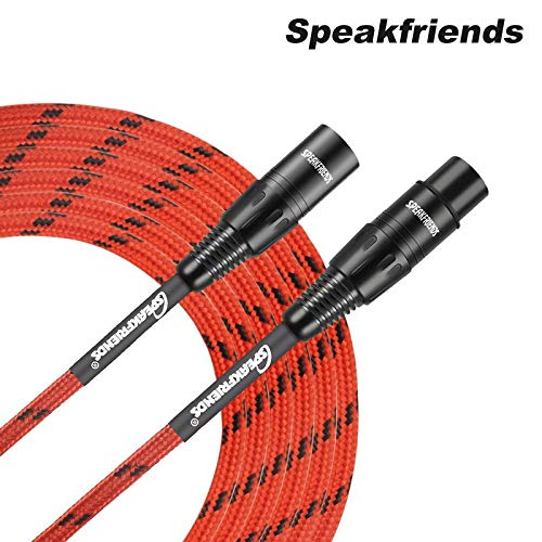 SPEAKFRIENDS 15ft Microphone Cable Professional 3-PIN Balanced XLR Male to XLR Female Mic Cable15 Feet, Red