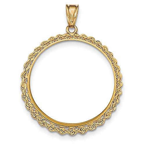 1 oz 14 carats Motif aigle américain cadre de pièces uniquement-JewelryWeb Pendentif à chaton