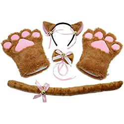 abcGOODefg Cat Cosplay Set Plush Gloves Cat Kitten Ears Tail Collar Paws Party Costume Set (Brown)