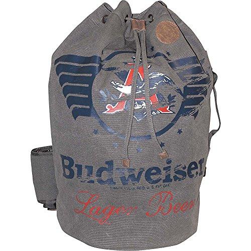 Budweiser Eagle - Budweiser by Buxton Men's Eagle Wings Drawstring Bucket Bag, Grey