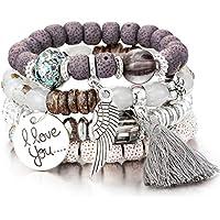 Meangel Multilayer Bohemian Bracelet for Women Girls Crystal Beaded Strand Bangle Charm Stretch Beach Boho Jewelry
