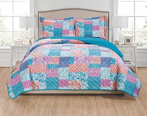 (RT Designers Collection Olivia 3-Piece Reversible Quilt Set - Queen, Aqua/Coral/Fuchsia/Turquoise)