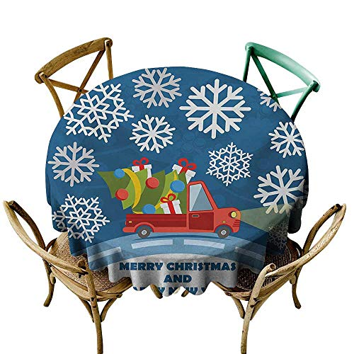 Mkedci Round Tablecloth Christmas Happy New Year Merry Christmas Truck with Gift Boxes Tree and Snowflakes Art Table Decoration D51 Blue Red White (Merry Christmas And Happy New Year In Danish)