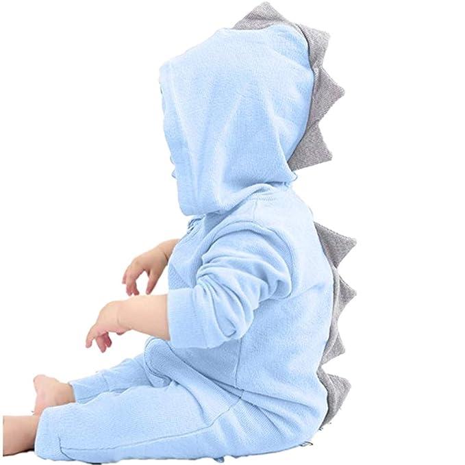 ea55073304 Elecenty Neonato bambino dinosauro ragazza Hooded pigiama tuta Abiti Tuta  da neonato con cappuccio a romper con cappuccio da dinosaur 3-18 Mesi:  Amazon.it: ...