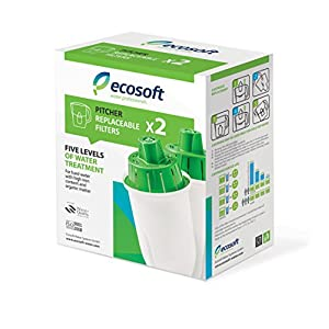 Premium Pitcher Water Filter Replacements by Ecosoft - Easy & Affordable Purification System, Provides Crisp, Natural & Healthy Drinking, For Use in The Ecosoft Pitcher Water Filter (Pack of 2)