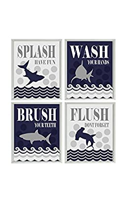 Shark Bathroom Wall Art - Wash, Flush, Brush, Splash