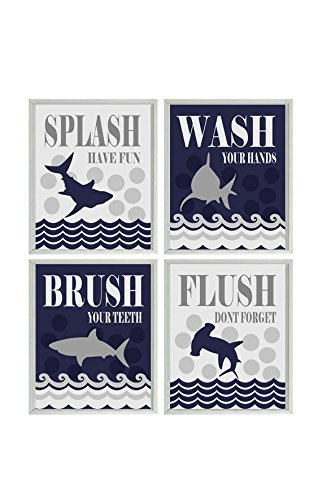 Shark Bathroom Wall Art, Kids Bathroom, Wash, Flush, Brush, Splash,