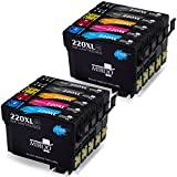 MIROO Remanufactured 220 220xl Ink Cartridge High Capacity 2 set+2 Black, Used with WF-2760 WF 2650 WF-2750 WF-2660 WF-2630 XP-320 XP-420 XP-424 Printer