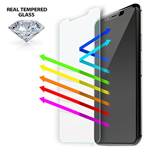 Iluv Screen Protector - iLuv iPhone X Anti Blue Light Tempered Glass Screen Protector Kit with 9H Hardness, HD Clear, Anti-shatter, Rounded Edge, Bubble Free, Anti-fingerprint, Smudge Free, and Easy Apply Cover Sheet