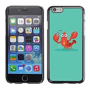 FECELL CITY // Duro Aluminio Pegatina PC Caso decorativo Funda Carcasa de Protección para Apple Iphone 6 Plus 5.5 // Crab Lobster Smart Teacher Teach