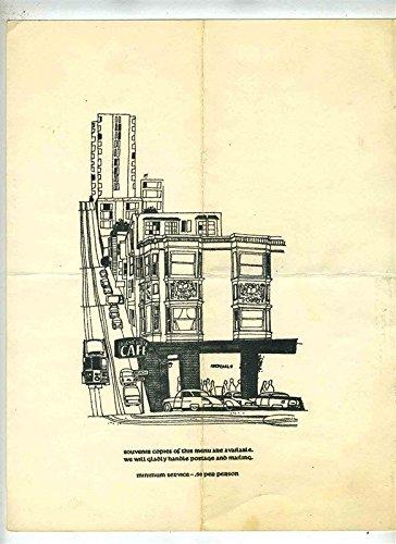 The Buena Vista Menus San Francisco California 1960's IRISH COFFEE Blond Gate