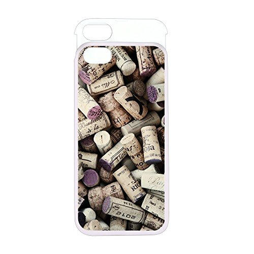 iPhone 5 or 5S Wallet Case Pink and White I love Wine Corks