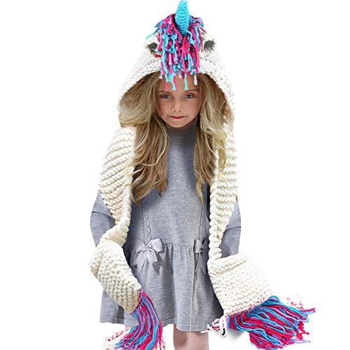 - Tacobear Kids Crochet Unicorn Hat with Scarf Pocket Hooded Handmade Knitted Beanies, Unicorn Gifts for Girls White Pink