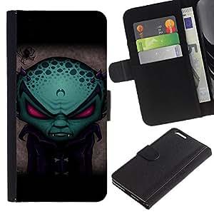 BearCase / Cuero de la tarjeta la carpeta del tirón Smartphone Slots Protección Holder /// Apple Iphone 6 PLUS 5.5 /// Divertido vampiro extranjero Evil