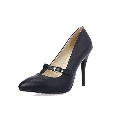 AllhqFashion Damen Weiches Material Spitz Zehe Stiletto Schnalle Rein Pumps Schuhe