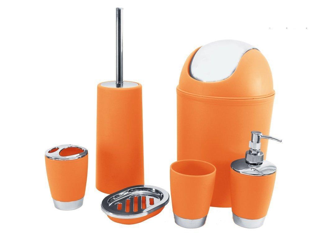 5a7ee3b90dae SQ Professional 6pc Bathroom Accessory Set Orange, 26x20x20 cm