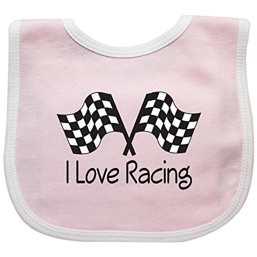 Inktastic - I Love Racing Baby Bib Pink/White 6520