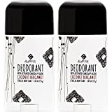 Alaffia - Coconut Reishi Activated Charcoal Deodorant, Odor Protection and Soothing Support from Shea Butter and Aloe Vera, Free of Aluminum, Sulfates, or Parabens, Coconut Bergamot, 2 Ounces (2-Pack)