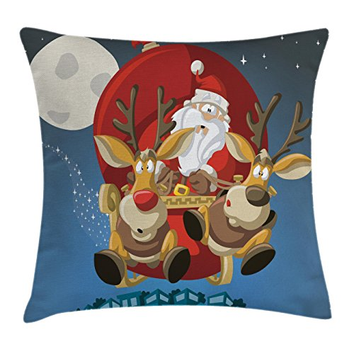 (Lunarable Christmas Throw Pillow Cushion Cover, Santa on Sleigh with Rudolf Over City Humor Cartoon Style Universal Moon Stars, Decorative Square Accent Pillow Case, 28 X 28 Inches, Multicolor)