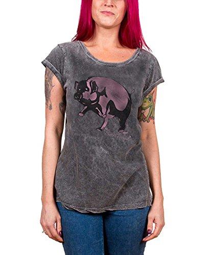 Pink Floyd New Woman T-shirt - Pink Floyd T Shirt Animals Pig new Official Womens Junior Fit Acid Wash