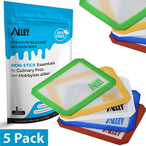 Non-stick-Wax-Mat-Pad-5-Pack-Silicone-Rolling-Baking-Pastry-Mat-Small-Rectangle-5-x-4-Assorted