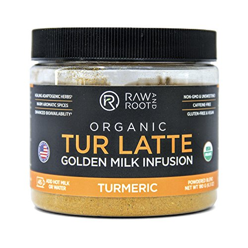 TUR LATTE - USDA Certified Organic Turmeric Latte Mix - 45 servings (6.3 oz) - by RAW AND ROOT - Makes Turmeric Golden Milk - Anti-Inflammatory, USDA Organic, Non GMO, Vegan, Gluten-free, Unsweetened ()