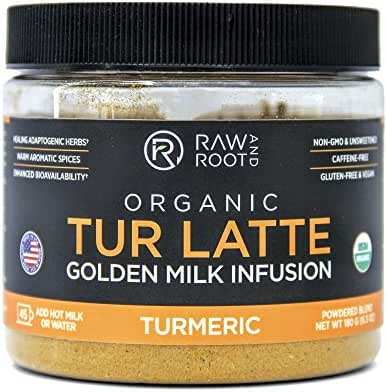 TUR LATTE - USDA Certified Organic Turmeric Latte Mix - 45 servings (6.3 oz) - by RAW AND ROOT - Makes Turmeric Golden Milk - Anti-Inflammatory, USDA Organic, Non GMO, Vegan, Gluten-free, Unsweetened