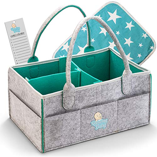 Baby Diaper Daddy Organizer – Portable Large Nursery Storage for Car, Sturdy Nappy Basket for Changing Table, travels tote bag, Ultimate Newborn Shower Gift – Free Bonus Changing Pad by 'Knowing Baby'