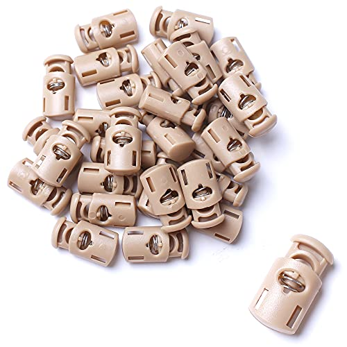AXEN 30PCS Plastic Cord Locks End Spring Stopper Fastener Toggles for Shoelaces, Drawstrings, Paracord, Bags, Clothing and More, Khaki