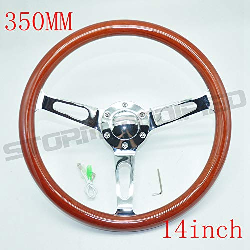 (Universal 350MM 14 Inch Stainless Steel Spoke Brown Wood Steering Wheel Horn Button 6 Hole)