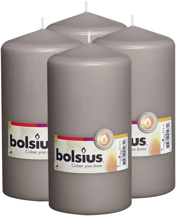 "BOLSIUS Set of 4 Warm Grey Unscented Dripless Pillar Candles- Clean Burning Smokeless Dinner Candles for Wedding & Home Decor Party Restaurant Spa- Aprox 3"" x 6"" Individually Wrapped"