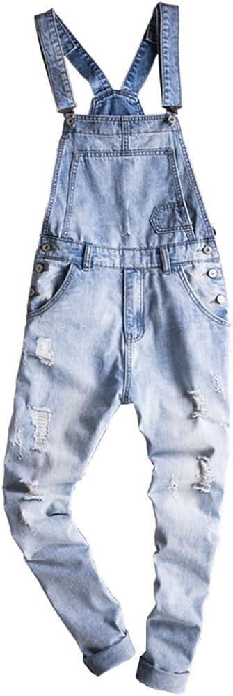 LifeHe Men Camo Slim Fit Denim Overalls Jogger Cargo Pants