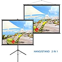 Build Excellent 80 Inch 2-in-1 Portable Indoor Outdoor Projector Screen Diagonal HD 4:3 Manual roll up Stand Tripod or Hanging Design Home Theater Aspect Ratio Projection Screen (PS – 80 - MR)