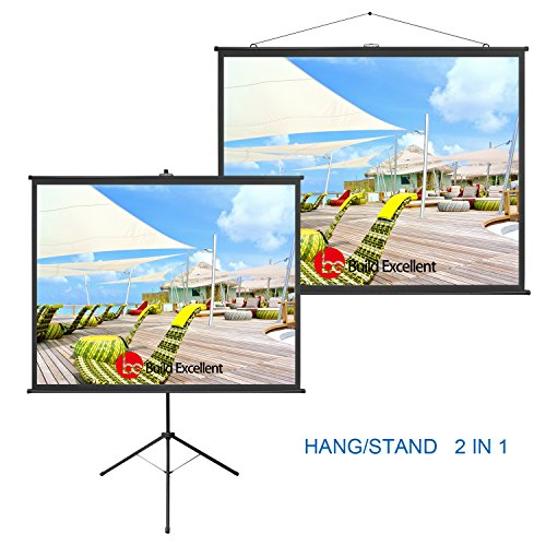 Build Excellent 80 Inch 2-in-1 Portable Indoor Outdoor Projector Screen Diagonal HD 4:3 Manual roll up Stand Tripod or Hanging Design Home Theater Aspect Ratio Projection Screen (PS – 80 (48' Roll Display)