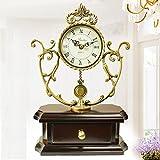 MCC Copper Wooden Traditional Quartz Table Clock ?High Grade European Retro Large Pendulum Hollow Mantel Clock , coffee