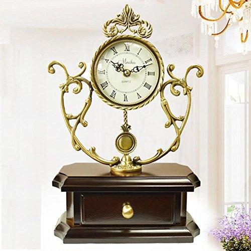 MCC Copper Wooden Traditional Quartz Table Clock ?High Grade European Retro Large Pendulum Hollow Mantel Clock , coffee by guazhong