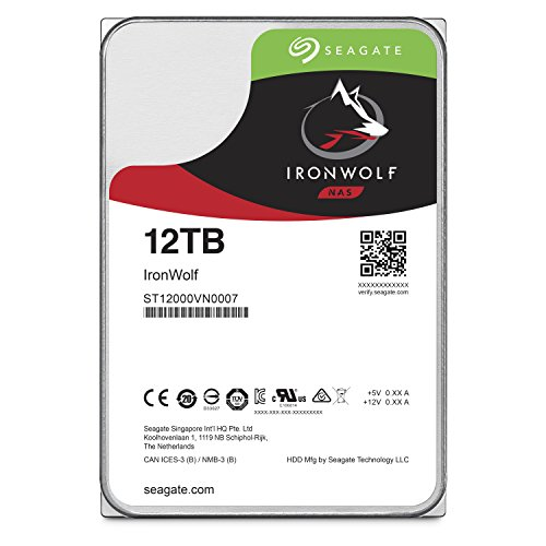 Seagate IronWolf NAS 7200RPM Internal SATA Hard Drive 12TB 6Gb/s 3.5-Inch (ST12000VN0007)