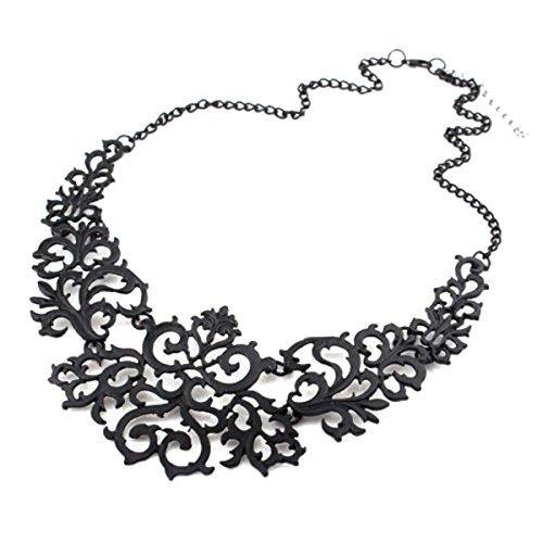 Kaamastra Laser Cut Baroque Statement Bib Necklace (Black)
